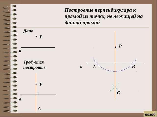 Р А В С Построение перпендикуляра к прямой из точки, не лежащей на данной пря...