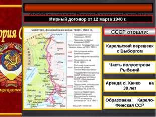 СССР в начале Второй мировой войны Мирный договор от 12 марта 1940 г. СССР о