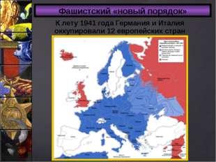 Фашистский «новый порядок» К лету 1941 года Германия и Италия оккупировали 12