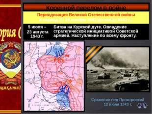Коренной перелом в войне Сражение под Прохоровкой 12 июля 1943 г. Периодизаци