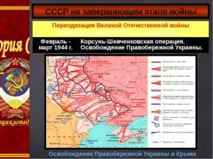 СССР на завершающем этапе войны Освобождение Правобережной Украины и Крыма Пе