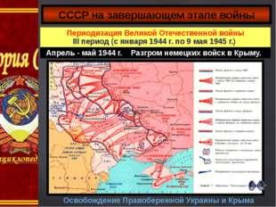 Освобождение Правобережной Украины и Крыма СССР на завершающем этапе войны Пе