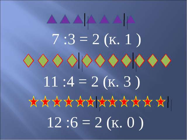 7 :3 = 2 (к. 1 ) 11 :4 = 2 (к. 3 ) 12 :6 = 2 (к. 0 )