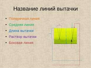 Название линий вытачки Поперечная линия Средняя линия Длина вытачки Раствор в