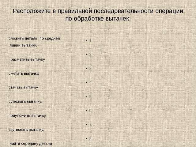 Расположите в правильной последовательности операции по обработке вытачек: сл...