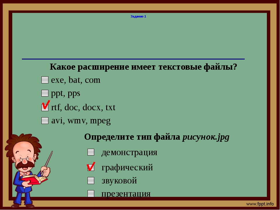 Задание 1 Какое расширение имеет текстовые файлы? exe, bat, com ppt, pps rtf,...