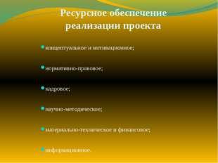 Ресурсное обеспечение реализации проекта концептуальное и мотивационное; норм