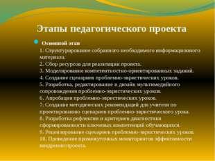 Этапы педагогического проекта Основной этап 1. Структурирование собранного не