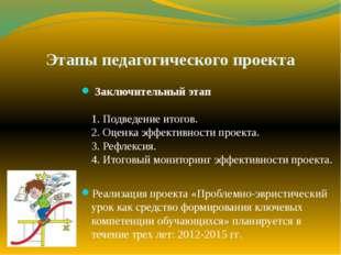 Этапы педагогического проекта Заключительный этап 1. Подведение итогов. 2. Оц
