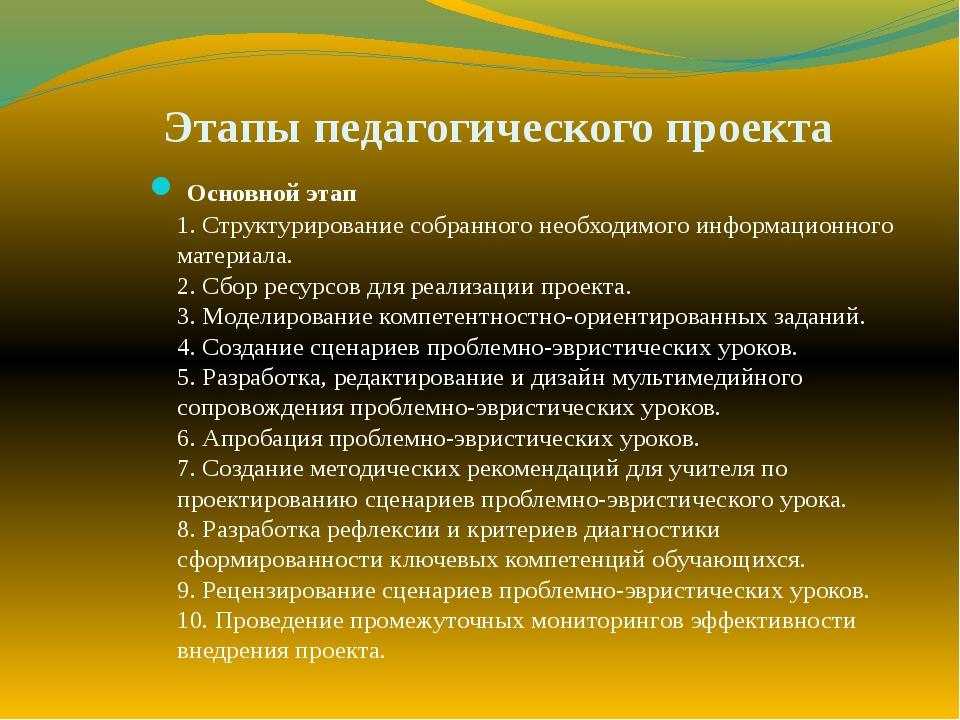 Этапы педагогического проекта Основной этап 1. Структурирование собранного не...