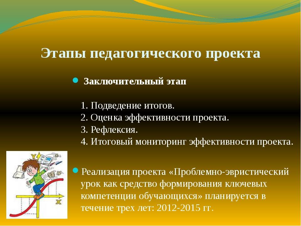 Этапы педагогического проекта Заключительный этап 1. Подведение итогов. 2. Оц...