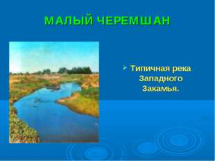 МАЛЫЙ ЧЕРЕМШАН Типичная река Западного Закамья.