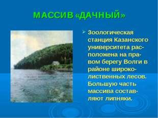 МАССИВ «ДАЧНЫЙ» Зоологическая станция Казанского университета рас-положена на