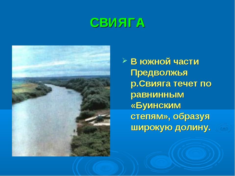 СВИЯГА В южной части Предволжья р.Свияга течет по равнинным «Буинским степям»...