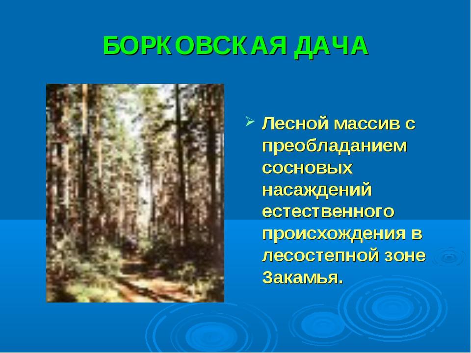 БОРКОВСКАЯ ДАЧА Лесной массив с преобладанием сосновых насаждений естественно...