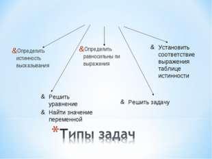 Определить истинность высказывания Определить равносильны ли выражения Решить