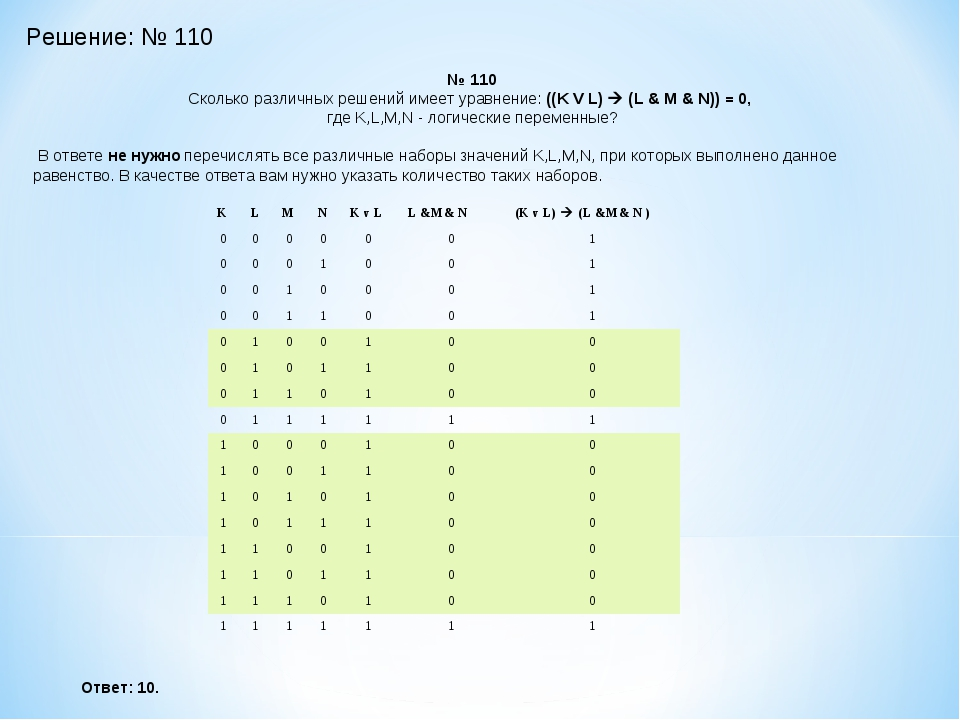 Решение: № 110 № 110 Сколько различных решений имеет уравнение: ((K V L)  (L...