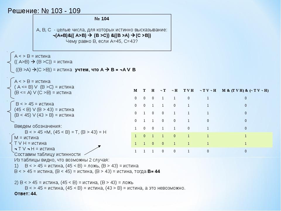 Решение: № 103 - 109 № 104 А, В, С - целые числа, для которых истинно высказы...