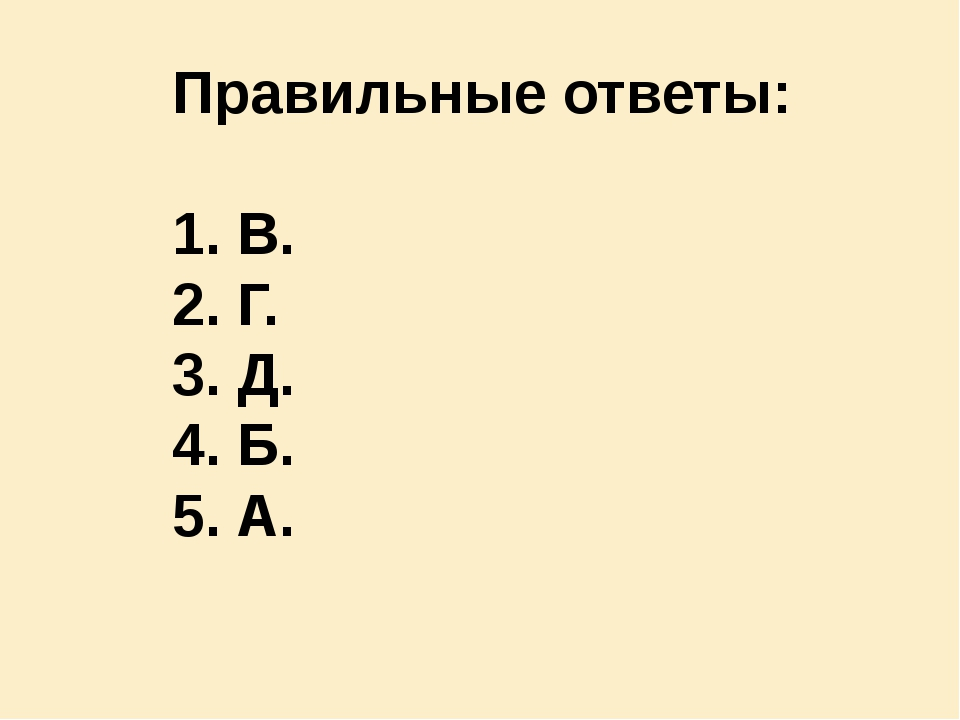 Правильные ответы: В. Г. Д. Б. А.