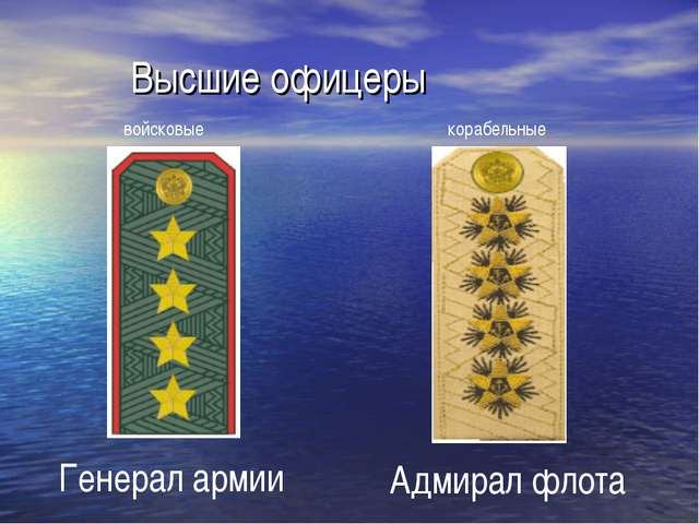 Высшие офицеры Генерал армии Адмирал флота войсковые корабельные