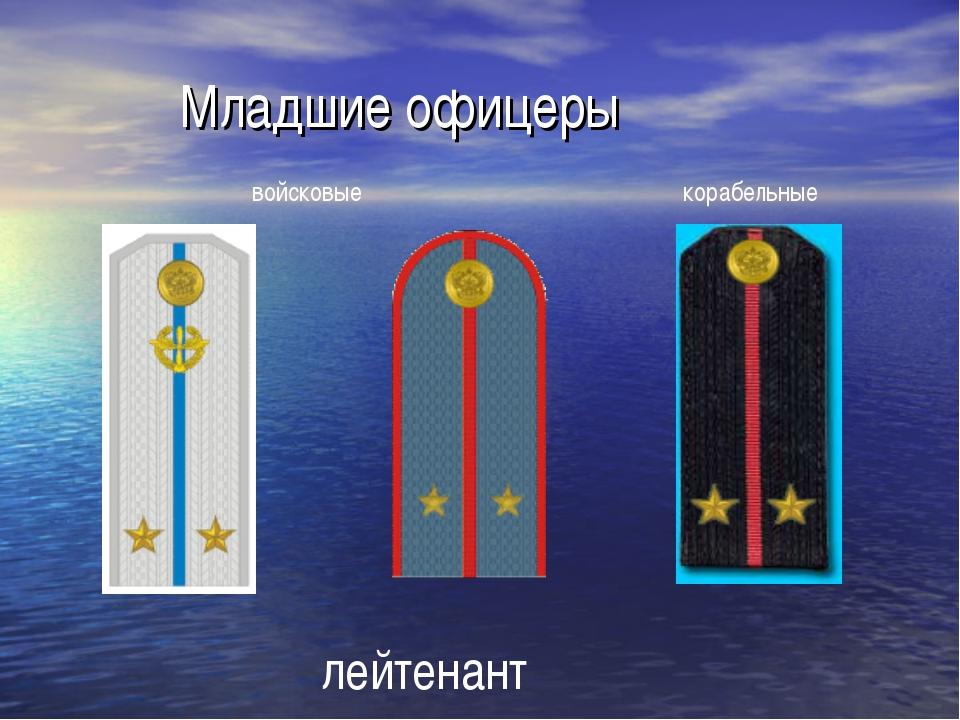 Младшие офицеры лейтенант войсковые корабельные