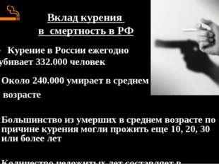 Вклад курения в смертность в РФ Около 240.000 умирает в среднем возрасте Боль