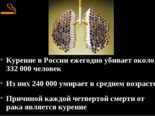 Курение в России ежегодно убивает около 332 000 человек Из них 240 000 умира