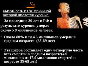 Смертность в РФ, причиной которой является курение Около 80% или 4.6 миллион