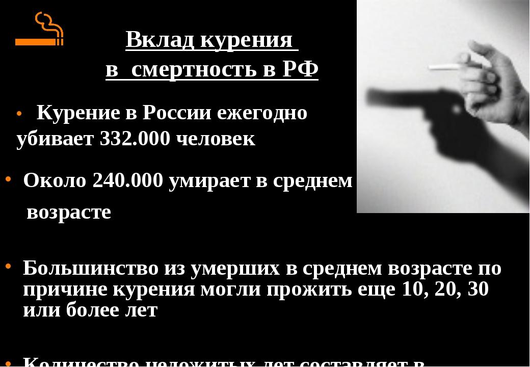 Вклад курения в смертность в РФ Около 240.000 умирает в среднем возрасте Боль...