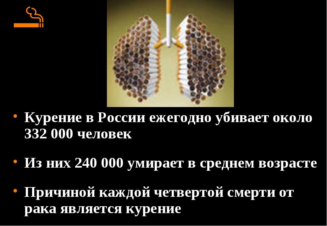 Курение в России ежегодно убивает около 332 000 человек Из них 240 000 умира...