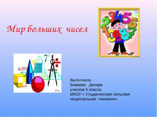 Мир больших чисел Выполнила Боваева Динара ученика 5 класса МКОУ « Ульдючинск