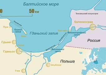 Карта Гданьского залива