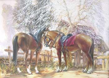 Галерея, картины - кубанские казаки, купить картину на холсте, живопись маслом 'Весенний цвет
