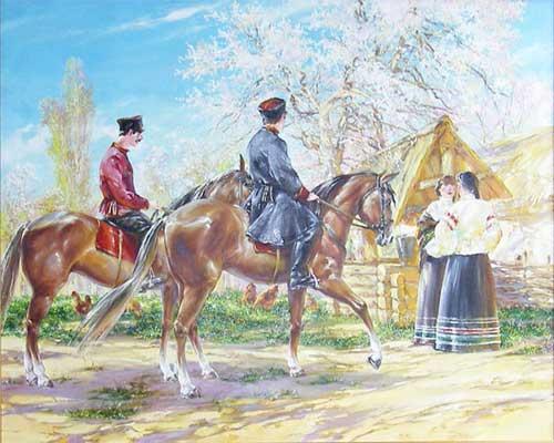 Галерея, картины - кубанские казаки, лошади казаков, купить картину, холст, живопись маслом, картина 'Весеннее настроение'