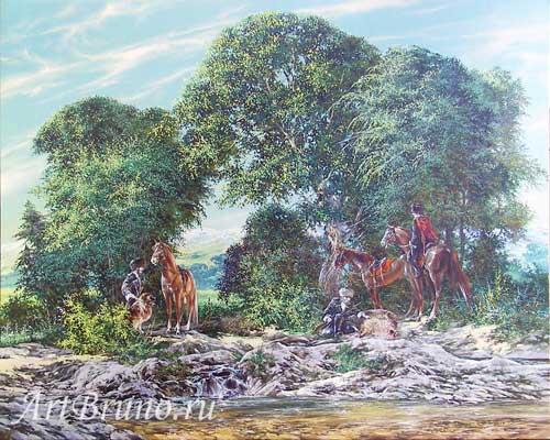 Галерея, картины - кубанские казаки, лошади, купить картину на холсте, живопись маслом 'Охота'