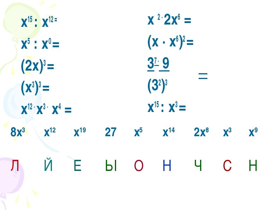 х15 : х12 = х5 : х0 = (2х)3 = (х3)3 = х12 · х3 · х4 = х 2 · 2х6 = (х · х6)2...