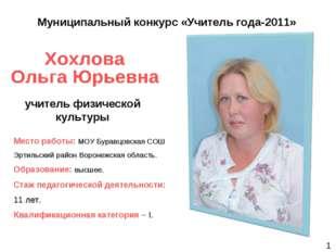 учитель физической культуры Муниципальный конкурс «Учитель года-2011» Место р