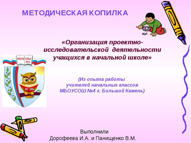 Выполнили Дорофеева И.А. и Панищенко В.М. «Организация проектно-исследовател...