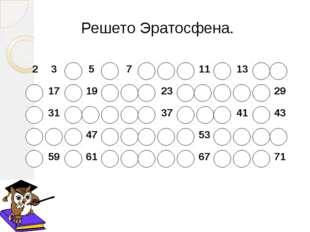Решето Эратосфена. 2 3 4 5 6 7 8 9 10 11 12 13 14 15 16 17 18 19 20 21 22 23