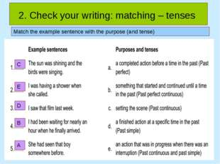 2. Check your writing: matching – tenses Match the example sentence with the