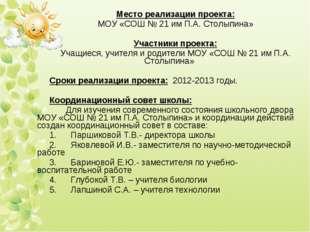 Место реализации проекта: МОУ «СОШ № 21 им П.А. Столыпина»  Участники проект