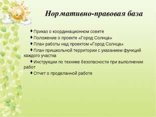Нормативно-правовая база Приказ о координационном совете Положение о проекте