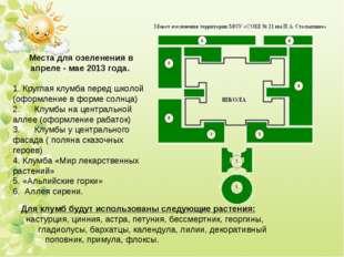 Места для озеленения в апреле - мае 2013 года.  1.Круглаяклумба перед шко