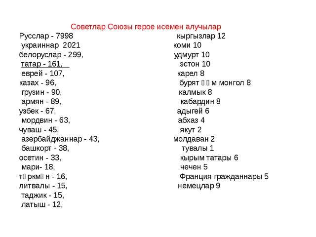Советлар Союзы герое исемен алучылар Русслар - 7998 кыргызлар 12 украиннар 2...