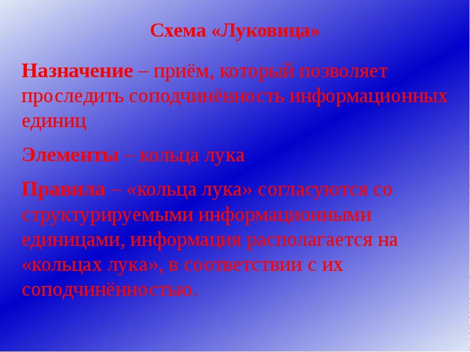 Схема «Луковица» Назначение – приём, который позволяет проследить соподчинённ...