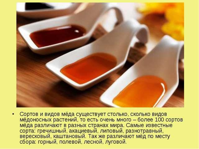 Сортов и видов мёда существует столько, сколько видов мёдоносных растений, то...