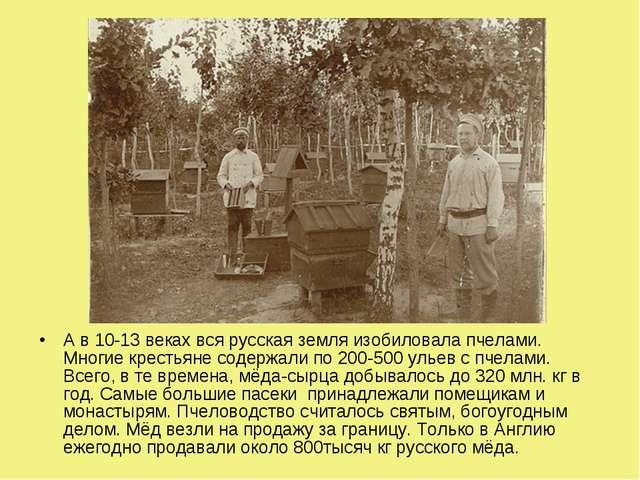 А в 10-13 веках вся русская земля изобиловала пчелами. Многие крестьяне содер...