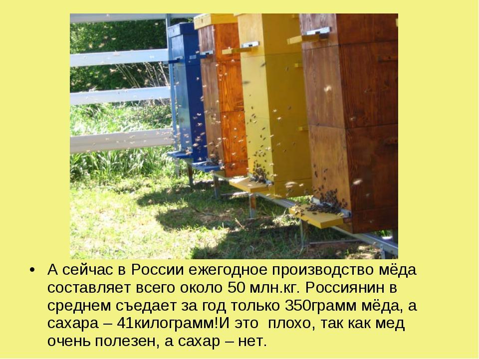 А сейчас в России ежегодное производство мёда составляет всего около 50 млн.к...