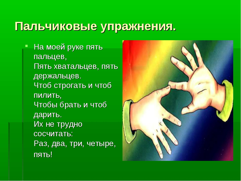 Пальчиковые упражнения. На моей руке пять пальцев, Пять хватальцев, пять держ...