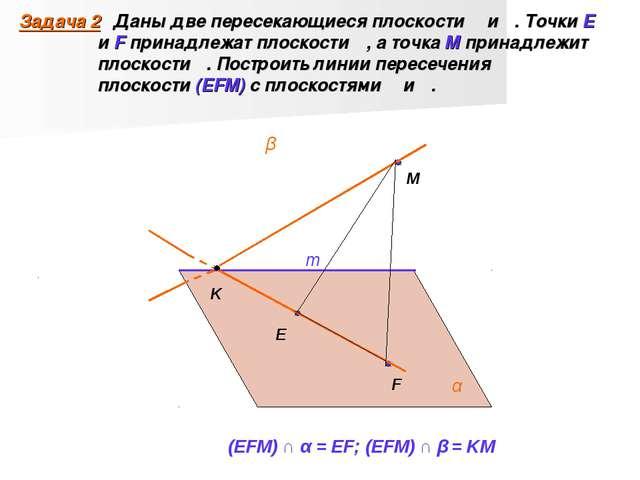 Задача 2 Даны две пересекающиеся плоскости α и β. Точки E и F принадлежат пло...
